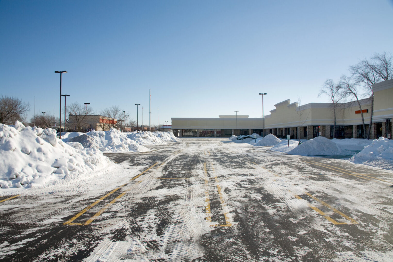 an empty plowed parking lot after the  snows of 2008 in Chicago area.